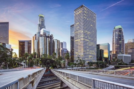 architecture and buildings: Los Angeles, California, USA early morning downtown cityscape.