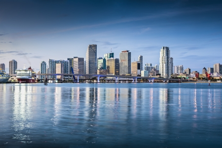 miami sunset: Miami, Florida, USA downtown skyline. Editorial