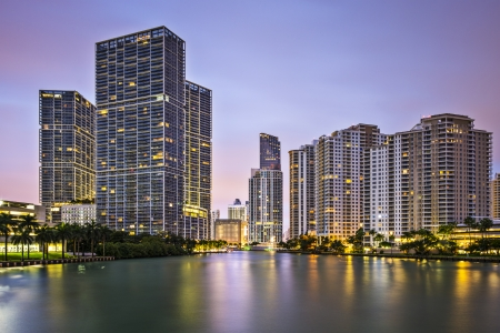 river county: Miami, Florida, USA at Brickell Key and Miami River. Stock Photo