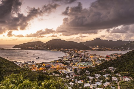 antilles: Philipsburg, Sint Maarten, Dutch Antilles cityscape at the Great Salt Pond.