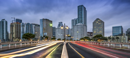 traffic lights: Miami, Florida skyline at Biscayne Bay.