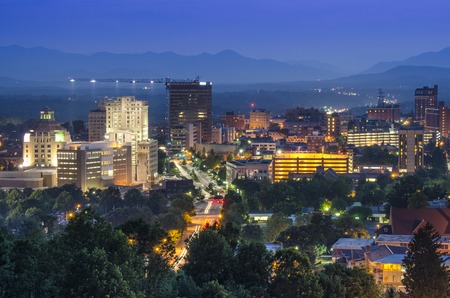north: Asheville, North Carolina, USA at twilight.