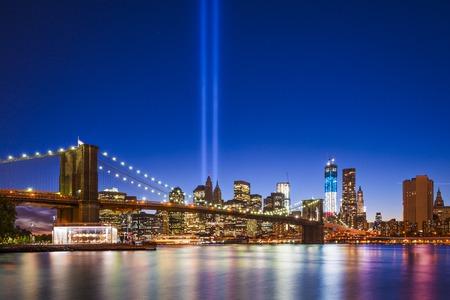 memorial: New York City with September 11 Tribute in Light. Stock Photo