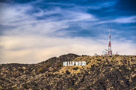 Hollywood sign in Los Angeles, Clalifornia. The landmark sign dates from 1923. Редакционное