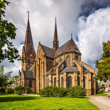 Church of Saint Peter in Malmo, Sweden. Reklamní fotografie