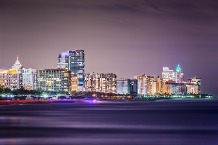 floridian: Miami Beach, Florida skyline at night.