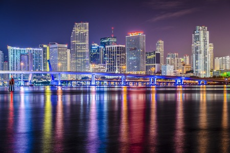 night scenery: Miami, Florida skyline at Biscayne Bay.