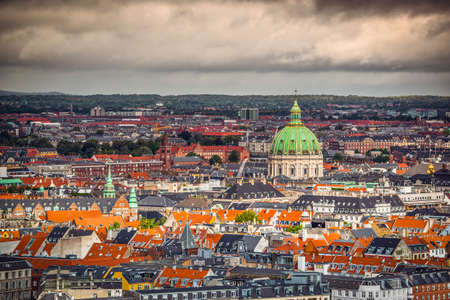 Copenhagen, Denmark cityscape at the Marble Church. Banco de Imagens
