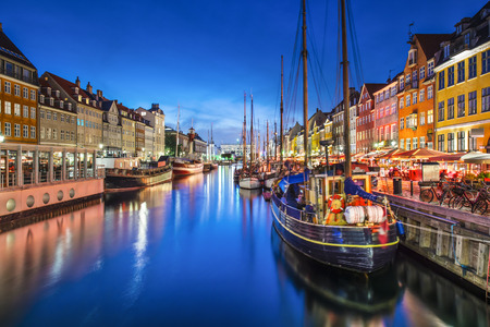 Kopenhaga, Dania na Kanale Nyhavn. Zdjęcie Seryjne