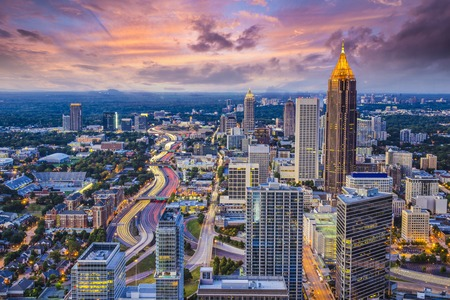 georgia: Atlanta, Georgia downtown aerial view.