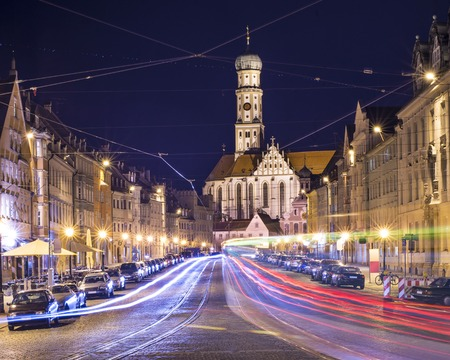 night road: Augsburg, Germany cityscape. Stock Photo
