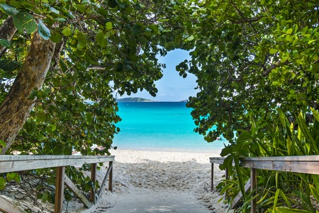st  john: St. John, US Virgin Islands at Trunk Bay Beach entrance. Stock Photo