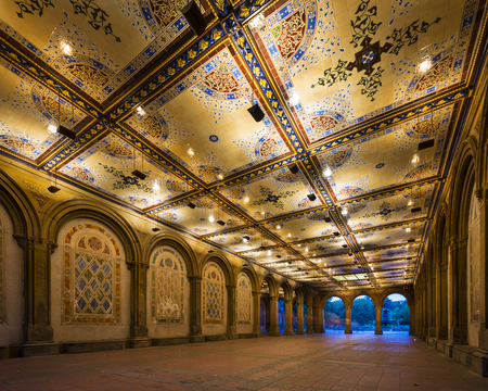 bethesda: New York City at  Bethesda Terrace underpass in Central Park.