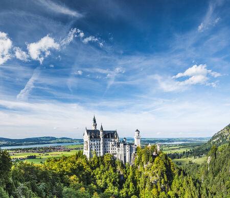 neuschwanstein: Neuschwanstein Castle in the Bavarian Alps of Germany. Editorial