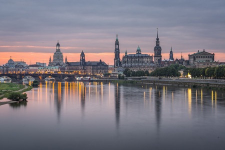 Dresden, Germany above the Elbe River at dawm/