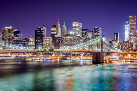 New York City night skyline. photo
