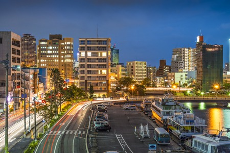 okinawa: Naha, Okinawa, Japan skyline at the seaport.