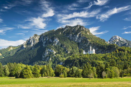 european alps: Neuschwanstein Castle in the Bavarian Alps of Germany. Editorial