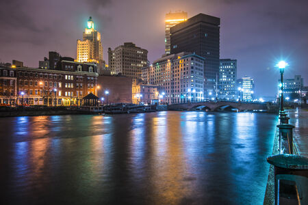 ri: Providence, Rhode Island, USA downtown on the river. Stock Photo