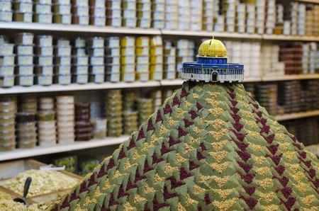 Jerusalem, Israel spice display in the old city market.