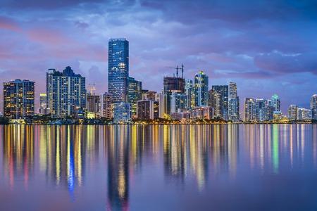 night scene: Miami, Florida skyline at Biscayne Bay.