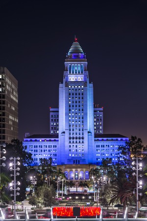 Los Angeles, California, USA downtown cityscape at City Hall Building. The building was completed in 1928.