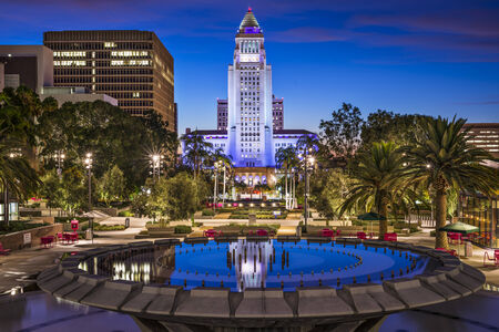 downtown: Los Angeles, California at City Hall. Stock Photo