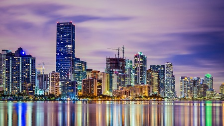 Miami, Florida skyline at Biscayne Bay.