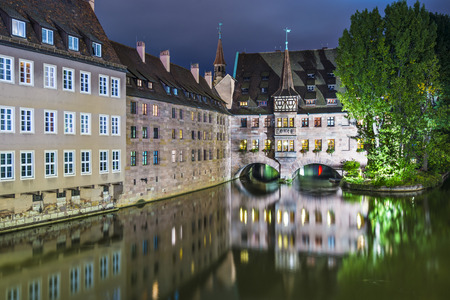Nuremberg, Germany at the historic Hospital of the Holy Spirit on the Pegnitz River. photo