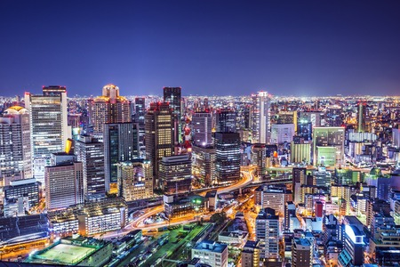 futuristic city: Osaka, Japan at the landmark Umeda District. Stock Photo