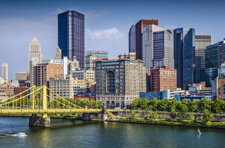 Pittsburgh, Pennsylvania, USA daytime downtown scene over the Allegheny River. photo