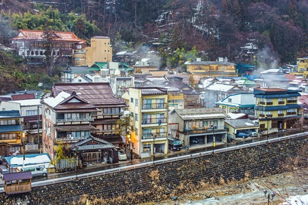 hot springs: The small town of Shibu Onsen in Nagano Prefecture. The town is famed for the numerous historic bath houses located there.