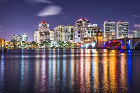 lights on: West Palm Beach, Florida nighttime skyline.