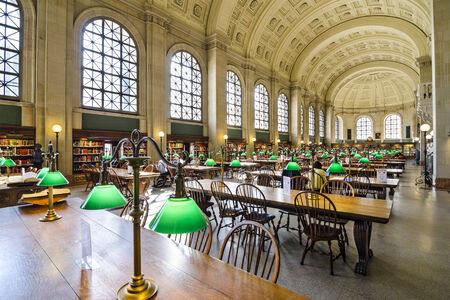 BOSTON, MA - APRIL 7, 2012: Interior of Boston Public Library. The library was the first publicly supported municipal library in the United States. Editorial