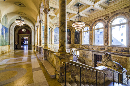 BOSTON, MA - APRIL 7, 2012: Interior of Boston Public Library. The library was the first publicly supported municipal library in the United States. Stock Photo - 25871273