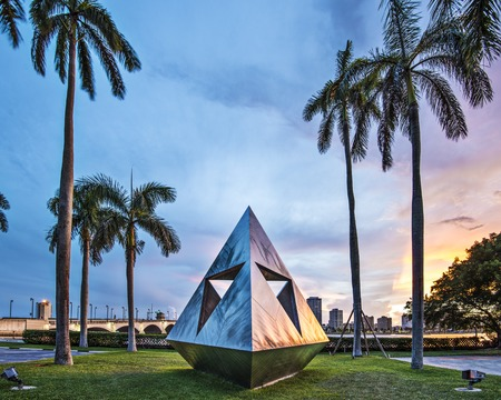 public works: WEST PALM BEACH, FLORIDA - JUNE 25, 2013: Intetra by Isamu Noguchi. The artist is known for his sculptures and public works.