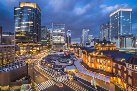 Tokyo, Japan at the Marunouchi business district and Tokyo Station. Stock Photo