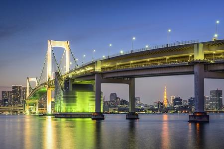 rainbow bridge: Tokyo, Japan at Tokyo Bay and Rainbow Bridge.