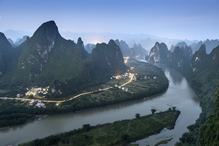 Karst Mountain Landscape in Xingping, China