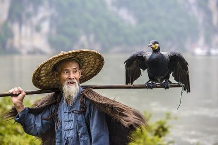 fisher animal: Cormorant fisherman and his bird on the Li River in Yangshuo, Guangxi, China.