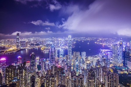 Hong Kong, China city skyline from Victoria Peak. photo