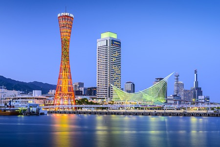 Skyline of Kobe, Japan at the port. Stock Photo