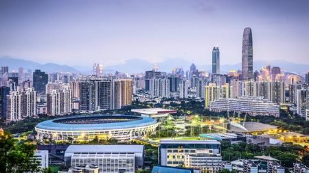 Shenzhen, China city skyline at twilight. photo