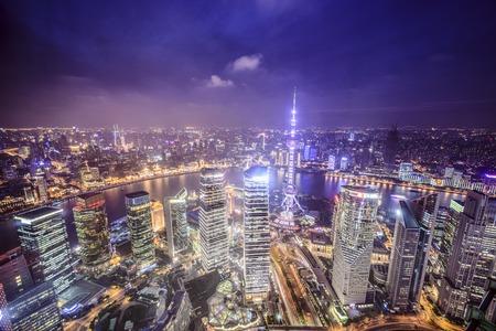 中国上海市浦東金融地区の眺め.