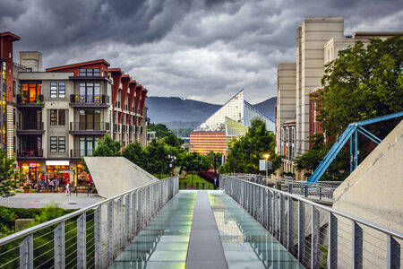 tn: Chattanooga, Tennessee, USA downtown cityscape under a stormy sky. Stock Photo