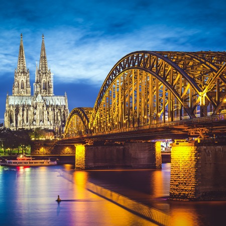 Cologne, Germany over the Rhine River. Imagens