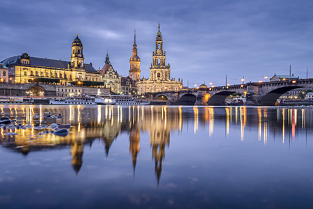 central european: Dresden, Germany cityscape on the Elbe River.