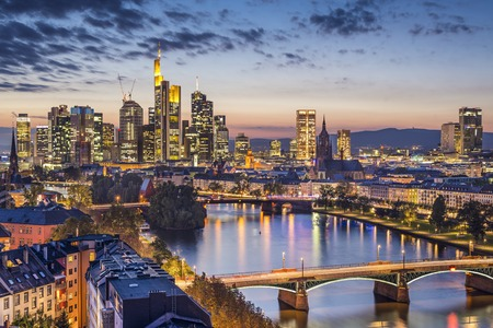 Frankfurt am Main, Germany Financial District skyline. 스톡 콘텐츠
