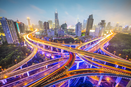 intersection: Shanghai, China aerial view over highways.