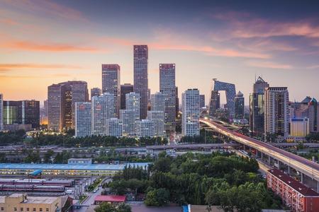 Beijing, China skyline in de centrale zakenwijk. Stockfoto
